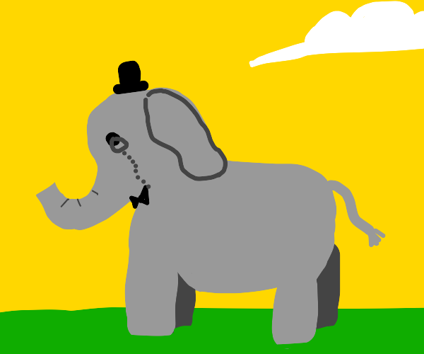 Elephant with a monocle, bowtie and tophat