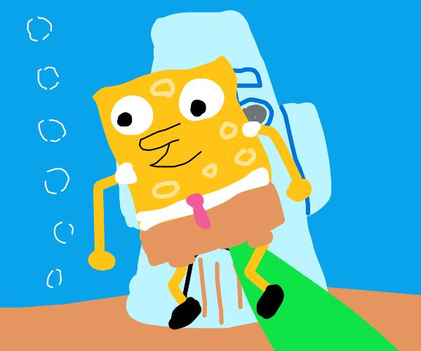 Spongebob farts a rocket