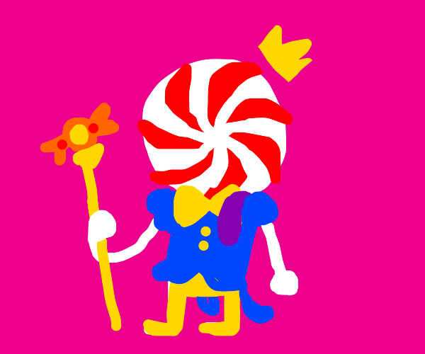 The candy man King, with a slug on shoulder