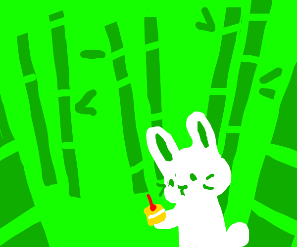 Cute creature offering cake, bamboo forest