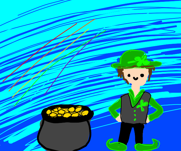 a leprechaun and a pot of gold