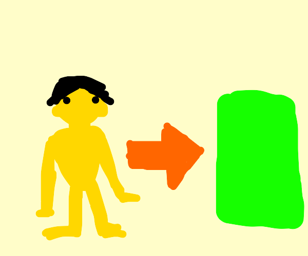 Yellow Man, Orange Arrow, Green Rectangle