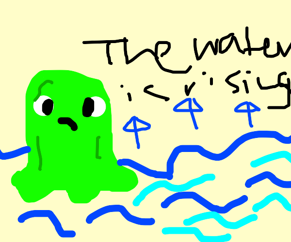 Sad slime learns about rising sea levels