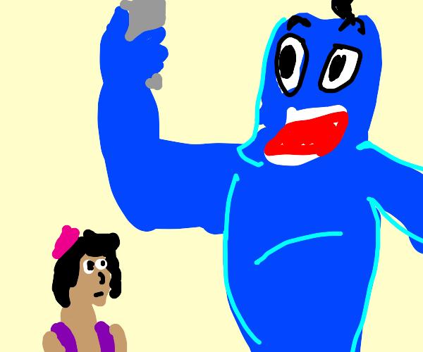 Genie taking a selfie while Aladdin watches