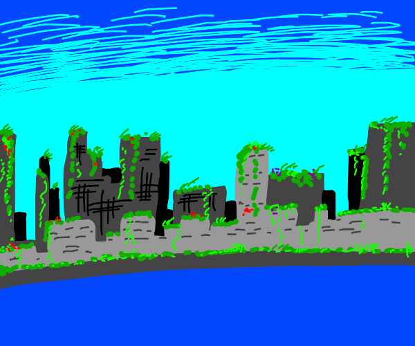 City overtaken by plants