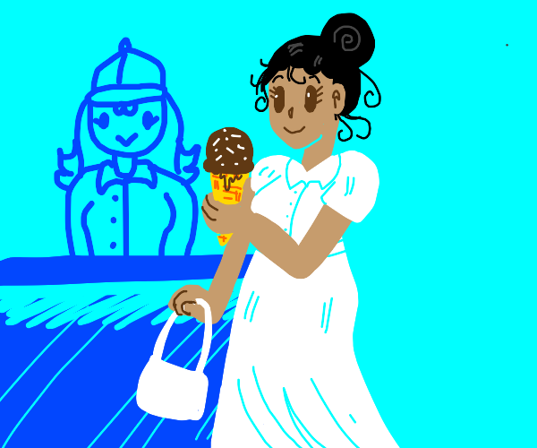 woman buys icecream