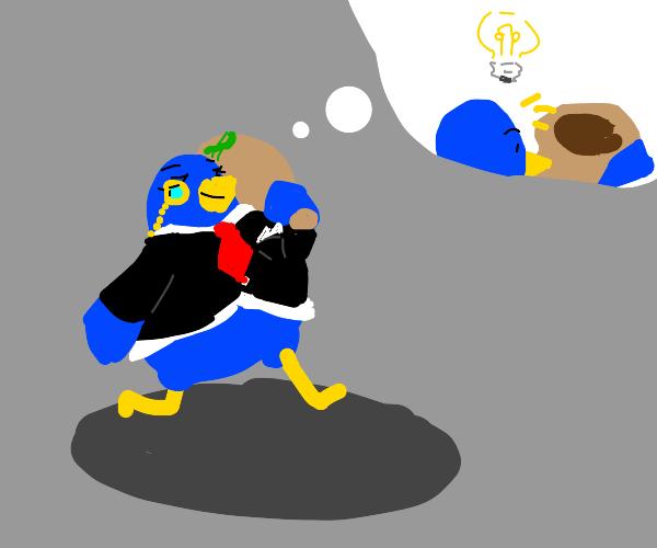 Cash money bird (but he's actually broke)