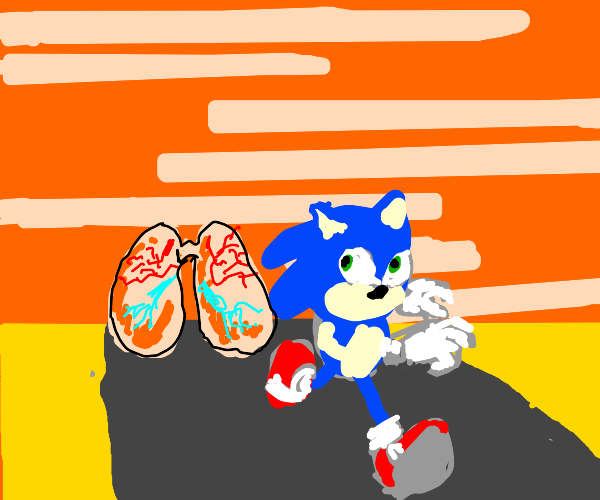 sonic runs away from lungs