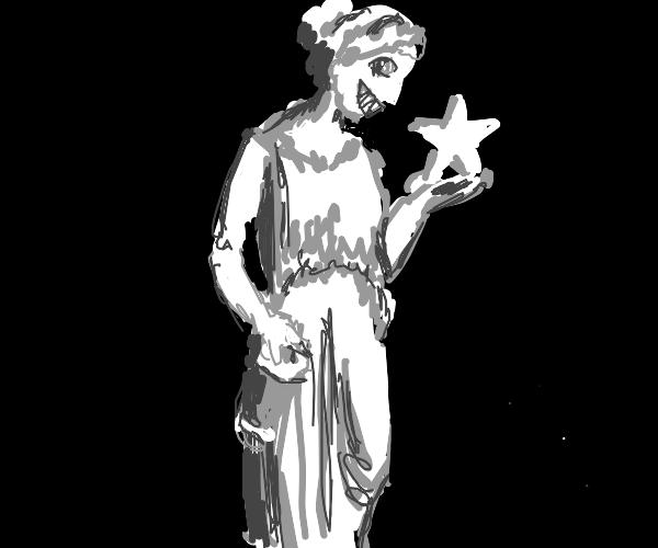 Creepy greek goddess holding a star