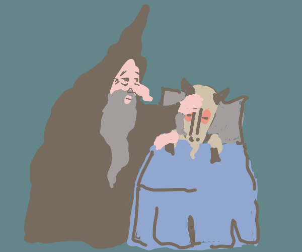old man in ancient robes with ill goat