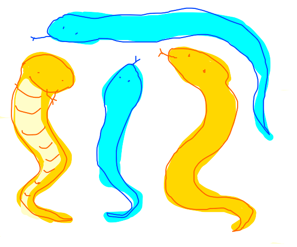 blue and yellow snakes