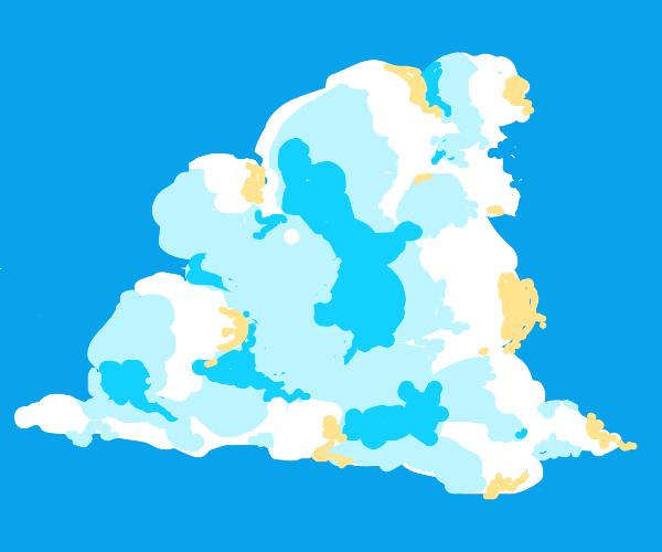 A close up of a cloud