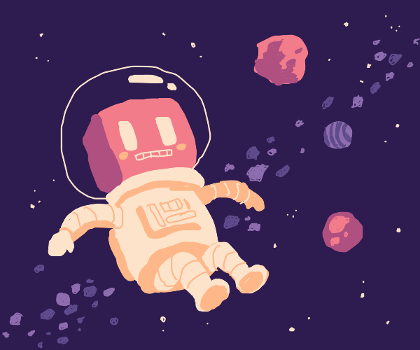 Cute astronaut robot in the cosmos