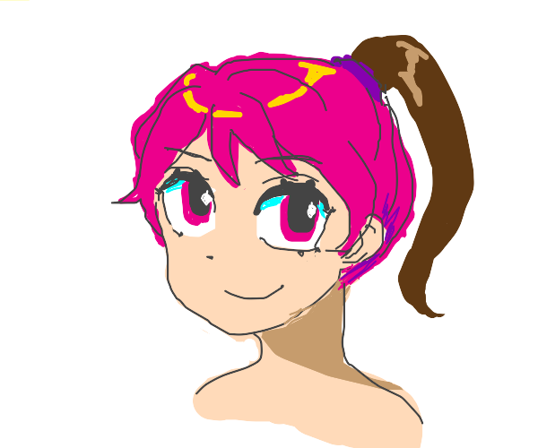 Pink haired girl with brown ponytails