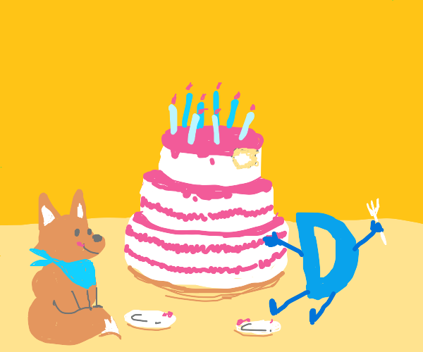 Drawception D and a fox enjoy a cake