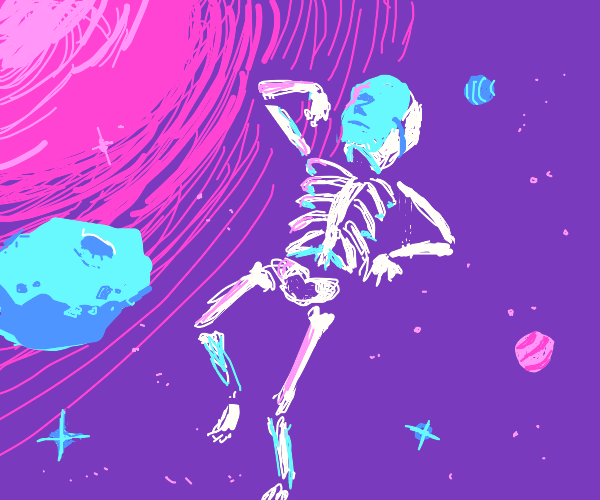 Skeleton with face mask floating through spac