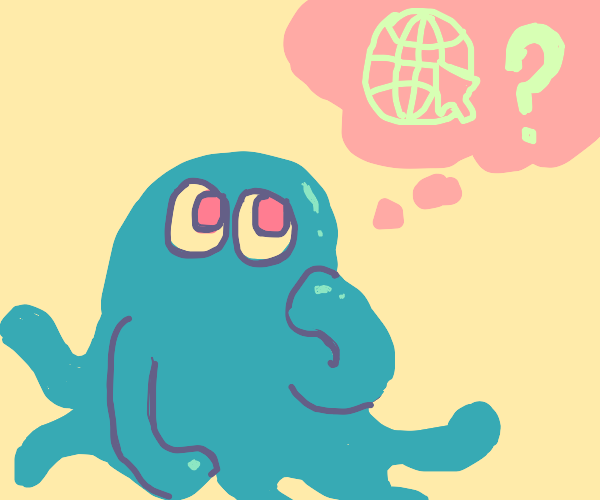 Blue creature questions the internet