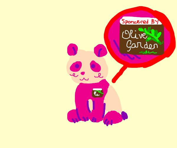 Pink panda gets sponsored by olive garden