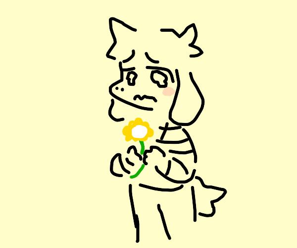 Asriel holding a flower