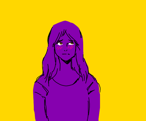 Purple girl is embarrased