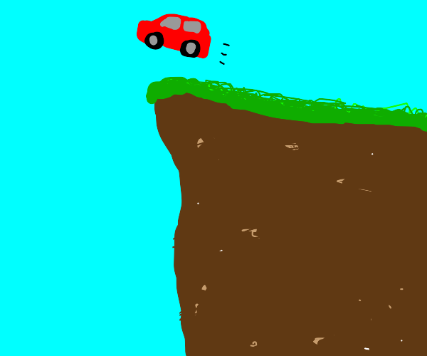 A car goes off a cliff lol