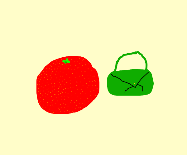 Red orange and green purse