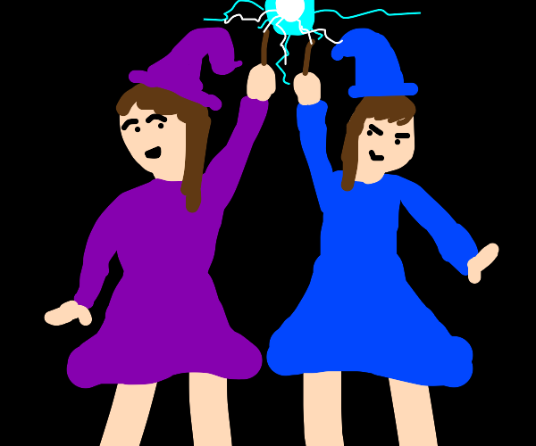 Lovely witch twins casting a spell