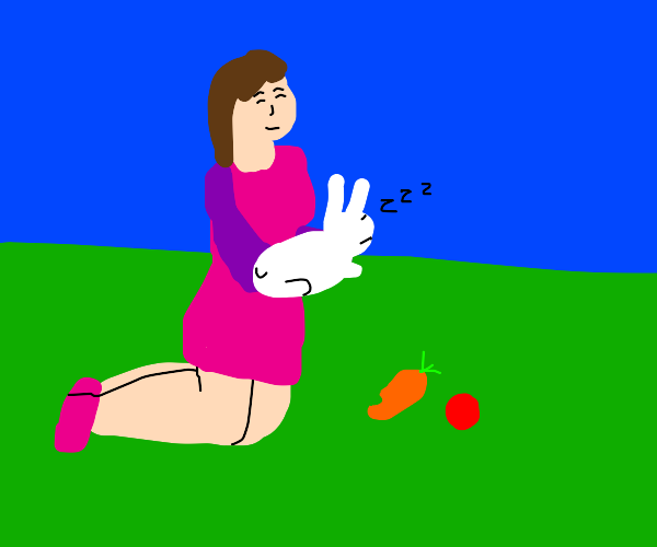 Girl with their pet bunny