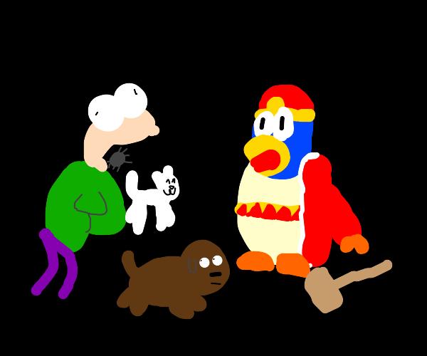 King Dedede looking at guy vomiting animals
