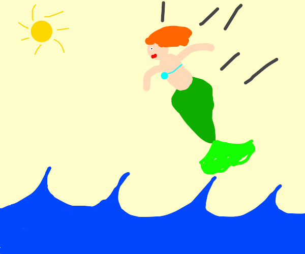 Mermaid falling from the sky into the ocean