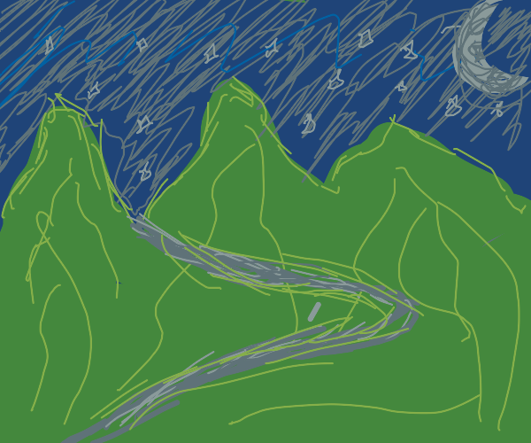 Green hills with night sky
