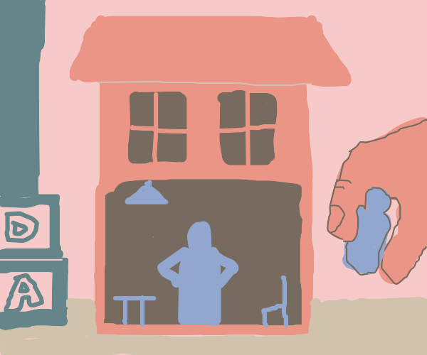 Blue People in Pink Dollhouse