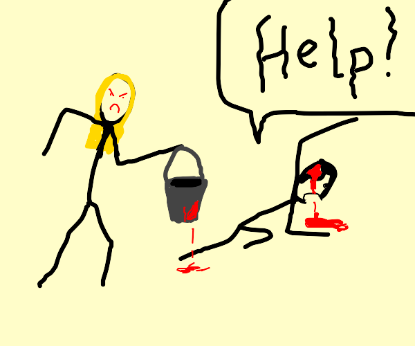 lady wants to kill someone with a bucket