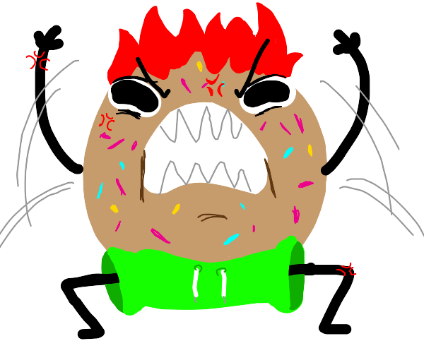 donut man wit red hair and green pants is mad