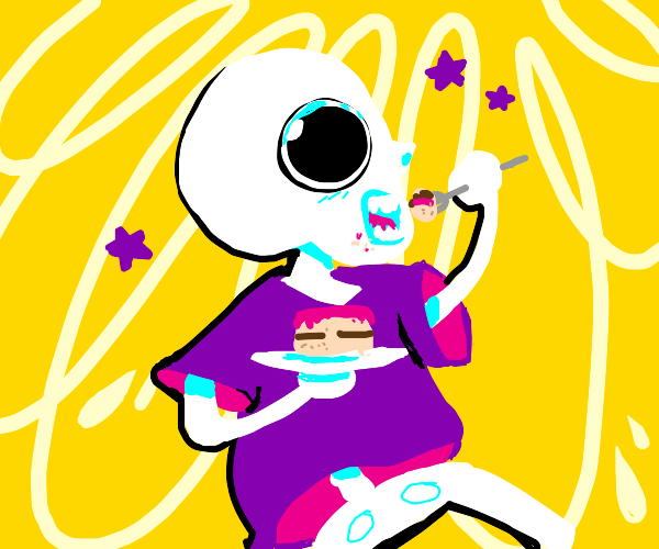 a skeleton with a purple shirt eating cake