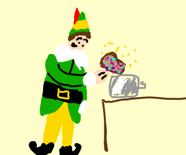 Elf putting Bread in a Toaster (also sparkles