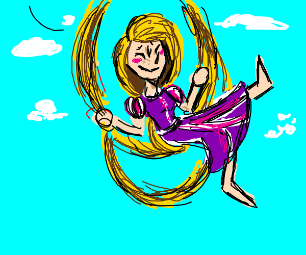 Repunzel sitting on swing made from her hair.