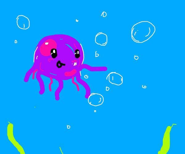 cute jellyfish admiring bubbles