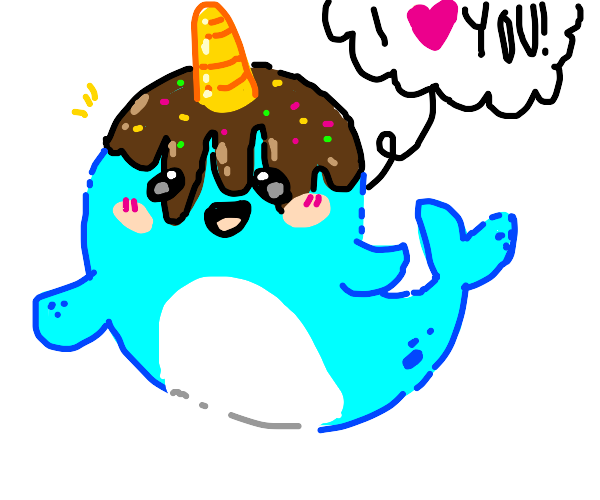 Sweet narwhal professes their love for you!