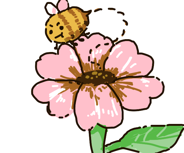 Bee flying above a pink flower