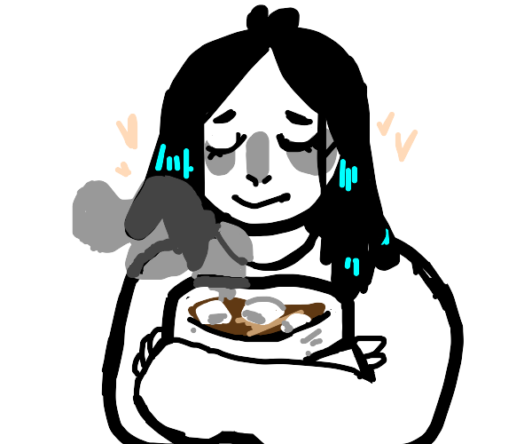 girl hugn a huge cup of hot choc w marshmallo