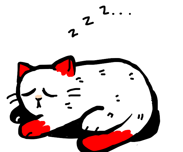 cat with red ears sleeping