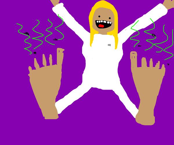 Crazy girl got stinky feet