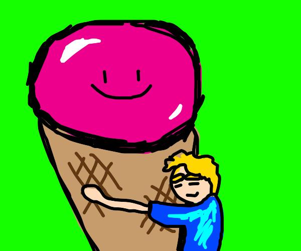 boy hugs ice cream