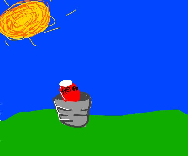 Heinz ketchup in a bucket