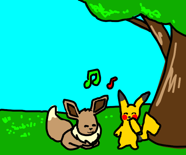 pikachu and eevee spend quality time together
