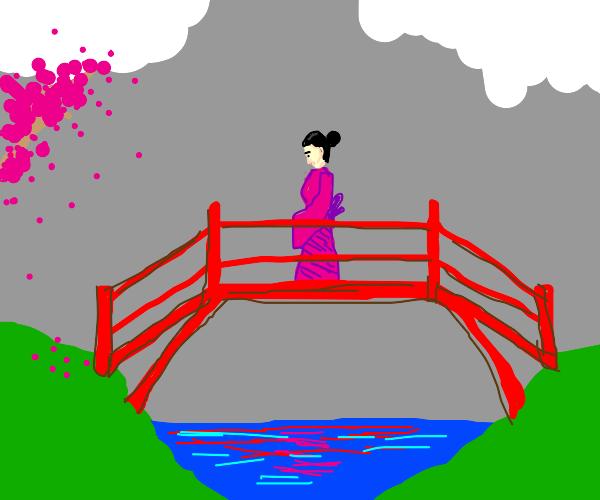 pretty asian girl in a pink kimono
