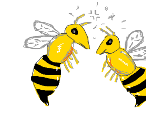 Two bees wanting to sting eachother