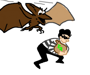 pterodactyl stops a thief with moneybag
