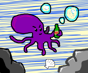 Violet squid with mustache and green liquor
